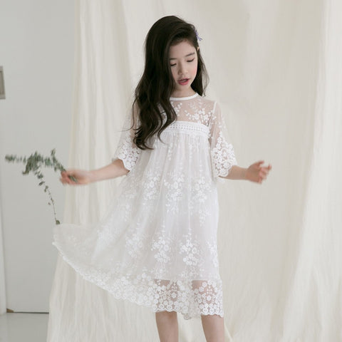 lace toddler girl party dress white princess dress with sleeve a line teenage long summer flower girls dresses clothing 2018