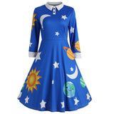 long sleeve Vintage Dress women festival cartoon turn down collar Sun Moon Star Print retro dress autumn winter d90912