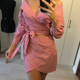 long sleeve summer dress women Cropped striped two piece short dress female off shoulder streetwear casual dress W04 - thefashionique