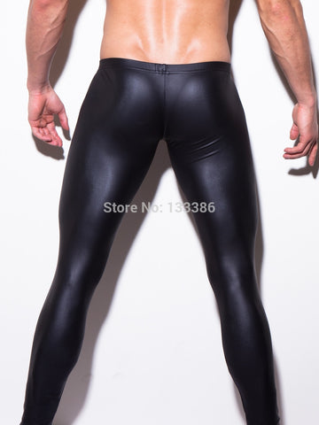male faux leather pants sexy man body tights legging lift body shaper undergarment pouch men Stage costumes nightclubs - thefashionique