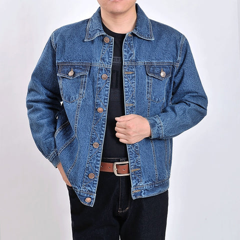 men's outwear cowboy jackets clothing 2018 Autumn and winter Large size jacket coat male button casual blue denim jacket S-4XL
