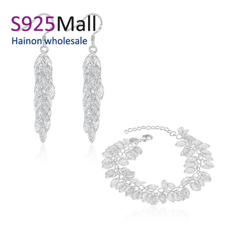 more leaves sets for new year spring holiday gift drop earring bracelet factory 2016 bulk sale cheap bridal party jewelry sets - thefashionique