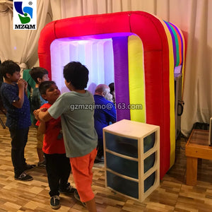 mzqm Beautiful Rainbow color inflatable led children photo booth,spacial mini photo cabin tent