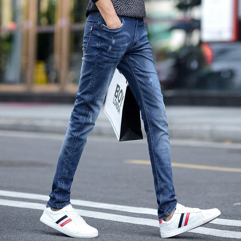 new 2018 teenagers feet jeans Pencil pants elastic cultivate one's morality trend
