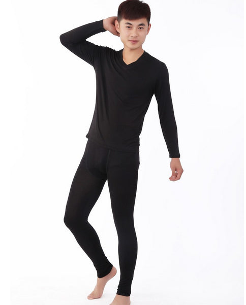 new arrival factory wholesale super large men v-neck soft bamboo undergarment long Johns comfortable plus size XL-5XL6XL7XL - thefashionique