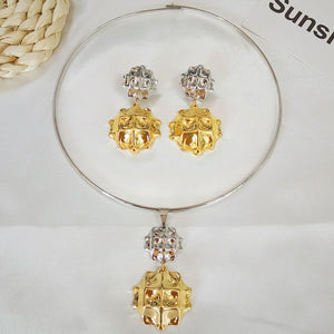 new necklace set gold silver earrings for women beautiful big jewelry sets 2 tone drop earring