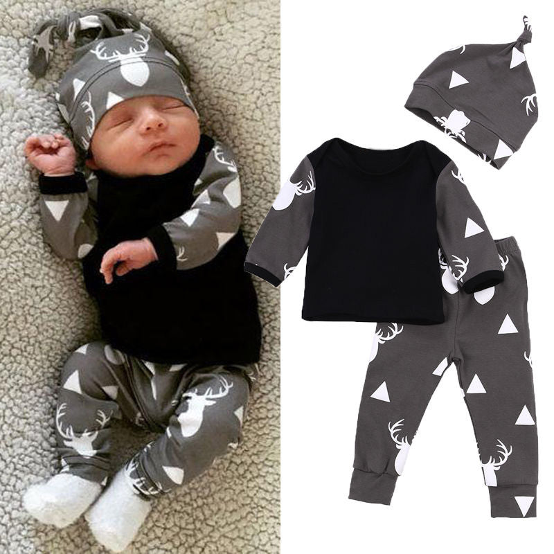 newborn baby boy girl clothes set long-sleeved T-shirt+ trousers +hat 3Pcs lot baby clothing sets kids children bebes costume - thefashionique