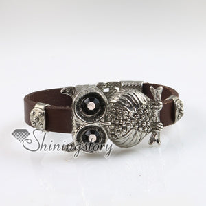 night owl fleur de lis snap wrap bracelets genuine leather rhinestone hand made bracelets cheap china fashion jewellery - thefashionique
