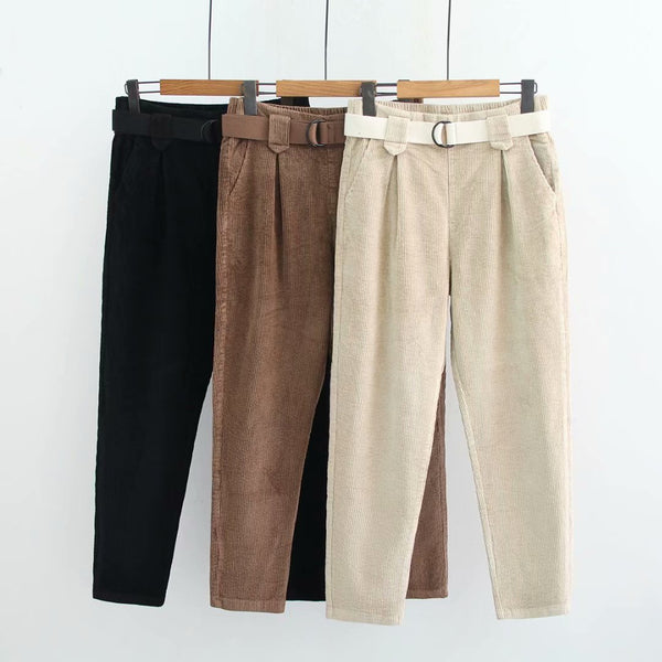 pant women Fashion and contracted and pure color corduroy casual pants match chatelaine joker haroun pants - thefashionique