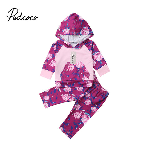 pudcoco Newborn Baby Girl Fashion Clothes Set purple Floral Autumn Hooded Tops+Pants Girls Outfits Casual Clothing sets