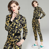 quality new Fashion Runway Designer Suit Set Women's Long sleeve jacket Printed Blouse and Vintage Pants Two Piece Set - thefashionique