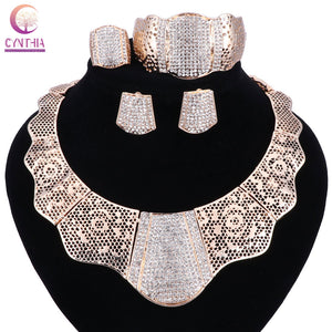 sale 2017 Bling-Bling Gold Fashion Jewelry Sets ,Chunky Necklace Bangle Black Women Costume Jewelry Set & More - thefashionique