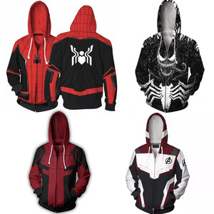 spider-man Hooded Avengers Endgame Cospla venom Sweatshirt Deadpool Hoodie Jacket Marvel Superhero Captain America streetwear
