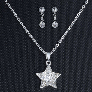 star Pendant Necklace jewelry set necklace Earring Set For Women Wedding Party Children girl gift Engagement Jewelry - thefashionique