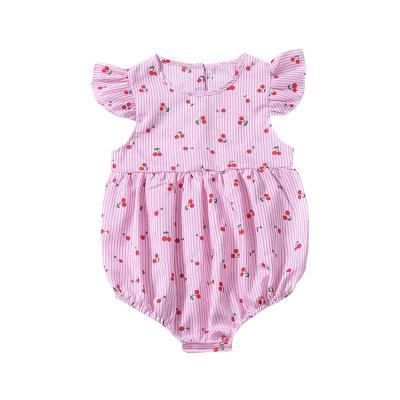 summer 2019 baby clothes china lovely Little Strawberry baby girl bodysuit ruffles short sleeve blue pink body infant girl kids - thefashionique