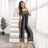 summer bohemian jumpsuits for women geometric off the shoulder elastic belt high waist rompers ankle-length jumpsuit girl 81575# - thefashionique