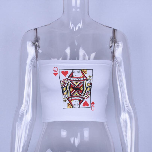 summer white print crop top women strapless cami tube top Poker Face tees short tank top 2018 cropped clothes camisoles tanks - thefashionique