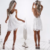 white lace women backless dresses v neck Camisole black sexy strap women dress clothings for ladies mini vestidos - thefashionique