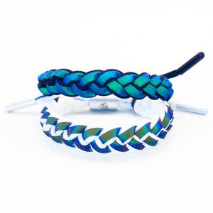 wholesale 100pcs Holographic Reflection Braided Bracelet Couple Simple Discoloration Woven Laces wristband as leonard fans gift - thefashionique