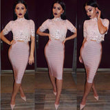 wholesale 2018 New bandage Fashion Feather Set Apricots pink skirt and white lace top Two Piece Set Cocktail party dress (H2310) - thefashionique