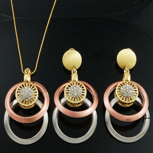 wholesale price rose gold jewelry sets rhinestone african women wedding necklace earring pendant gift