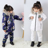 winter Children's suit down jacket two-piece boy and girl down jacket  bib -30 winter outing ski suit Thickened down jacket - thefashionique