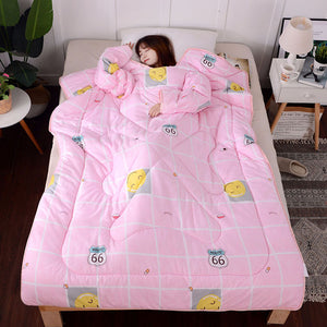 winter Comforters autumn Lazy Quilt with Sleeves family Blanket Cape Cloak Nap Blanket Dormitory Mantle Covered Blanket - thefashionique
