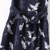 women cute crane print jumpsuit sashes pockets sleeveless pleated rompers ladies vintage casual jumpsuits - thefashionique