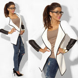 women jumper Knitted cardigan female PU leather patchwork Cardigan winter sweater Turn-down Collar casual sweater pull outerwear - thefashionique