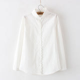 women lace white shirts summer spring long-sleeve ruffled 100% cotton slim soft blouse tops 0.15kg - thefashionique