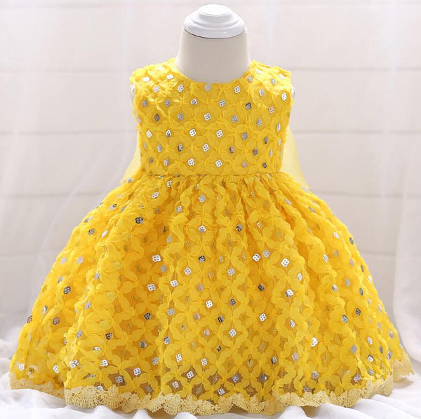 yellow Newborn Clothes Summer Baby Girls Sequins Princess Dress Girls Party Dresses Infant Ball Gown 1 Year Birthday Dresses - thefashionique