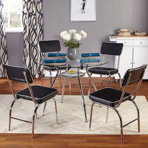 Glass Top 5 Pes Dining Table 4 Person Round Kitchen Breakfast Black Furniture