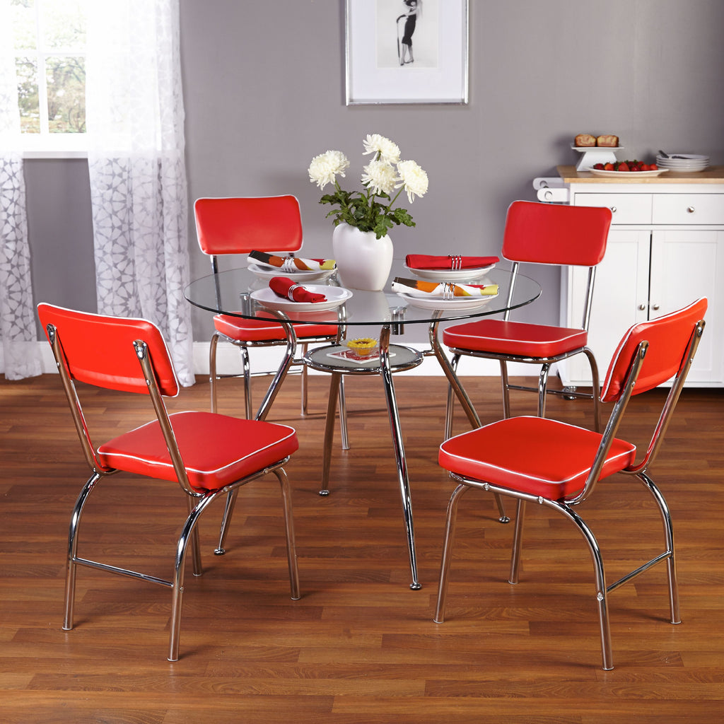 Glass Top 5 Piece Dining Table 4 Person Round Kitchen Breakfast Red Furniture