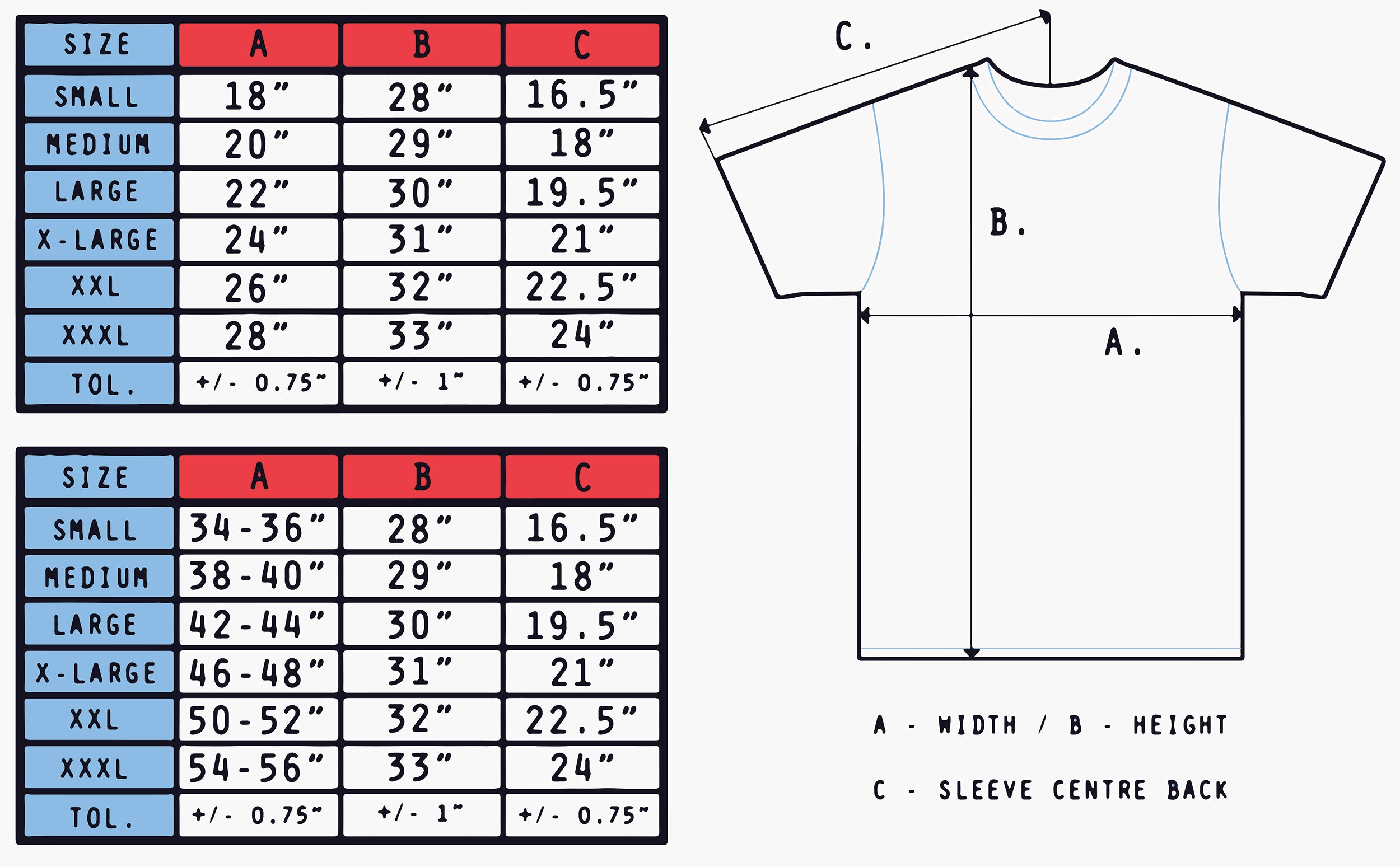 Awakened T-Shirts Sizing Chart