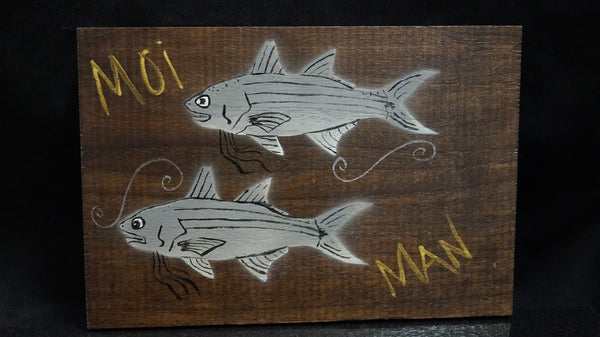 "Hanging Artwork on Cherrywood and Walnut Wood. 8"" X 5"" planks"