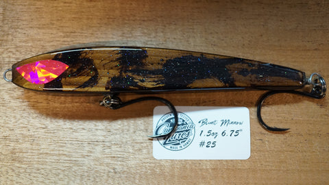 "6.75"" Blunt Minnow Wood Lure 1.5oz Reference #25"