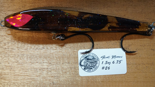"6.75"" Blunt Minnow Wood Lure 1.5oz Reference #26"