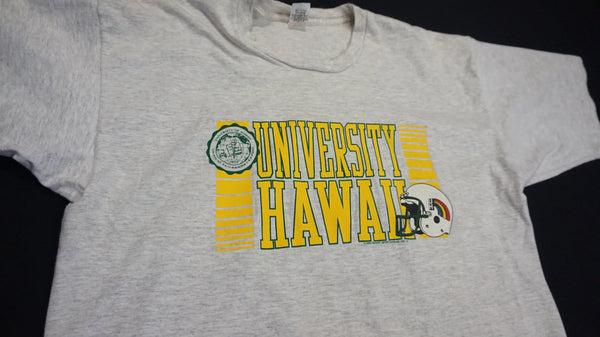 Retro and rare 1990 UH Rainbow Football Tee. #850