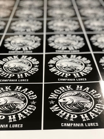 NEW Work Hard. Whip Hard. 5X5 Stickers.
