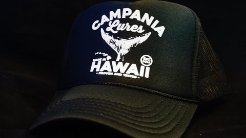 Campania Lures Tail Black Trucker Hat.