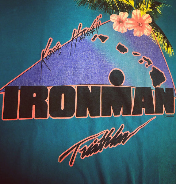 Retro 80's Ironman Kona Hawaii Teal shirt.