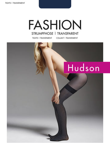 Hudson Graphic Chess panty met hold up kousen motief