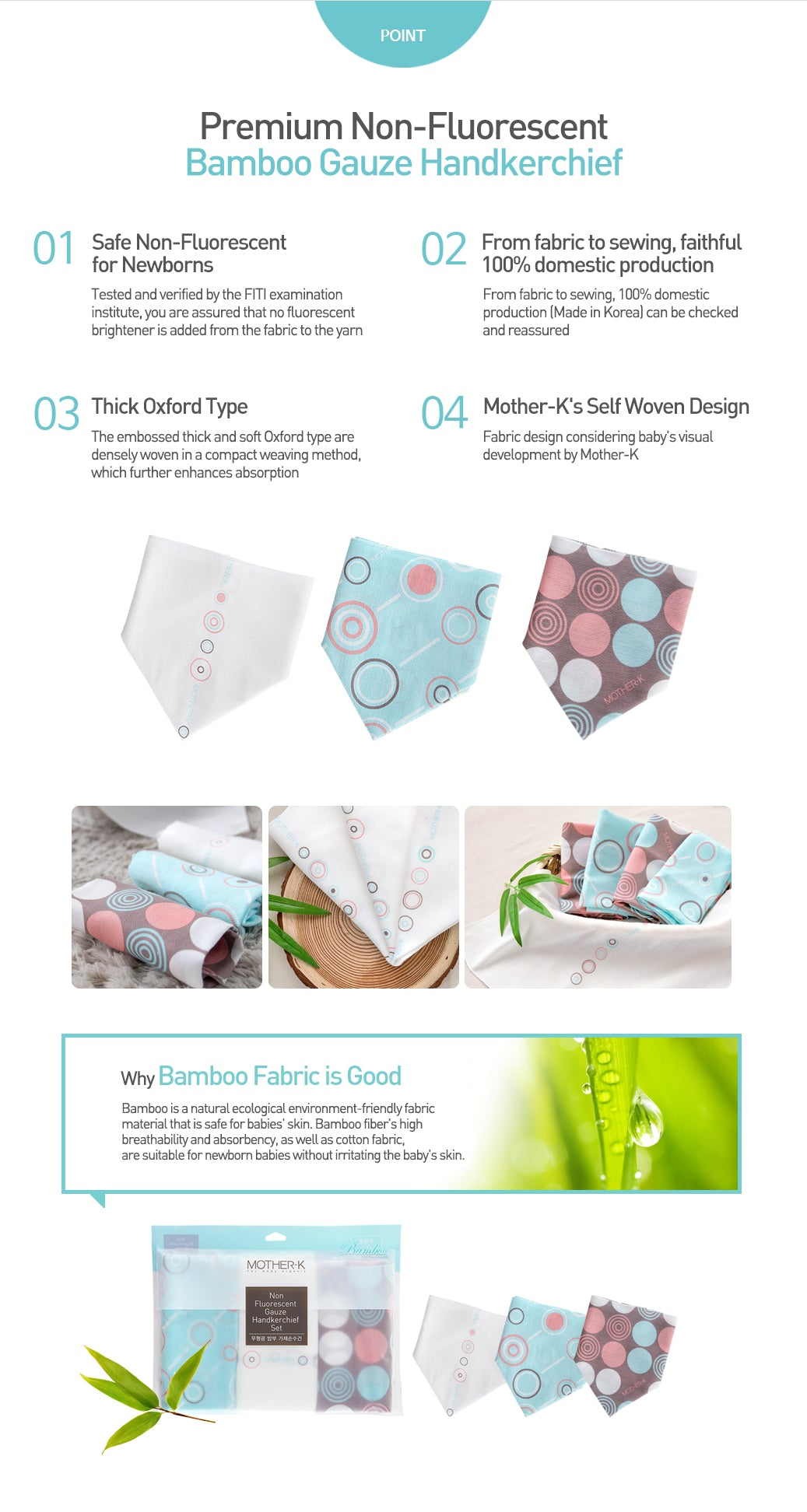 Mother-K Non-Fluorescent Cotton Gauze Handkerchief
