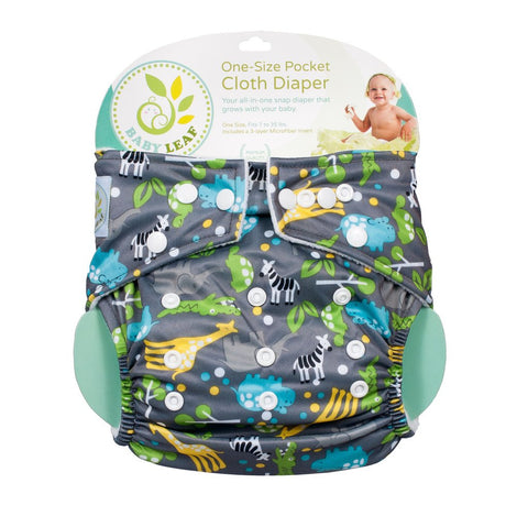Baby Leaf Animal Jungle One-Size Cloth Diapers