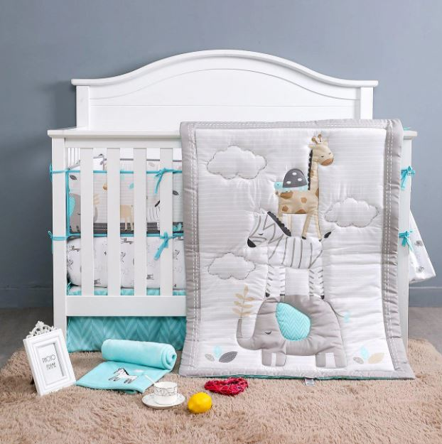 Juju Nursery Balancing Animals 7-Piece Crib Bedding Set