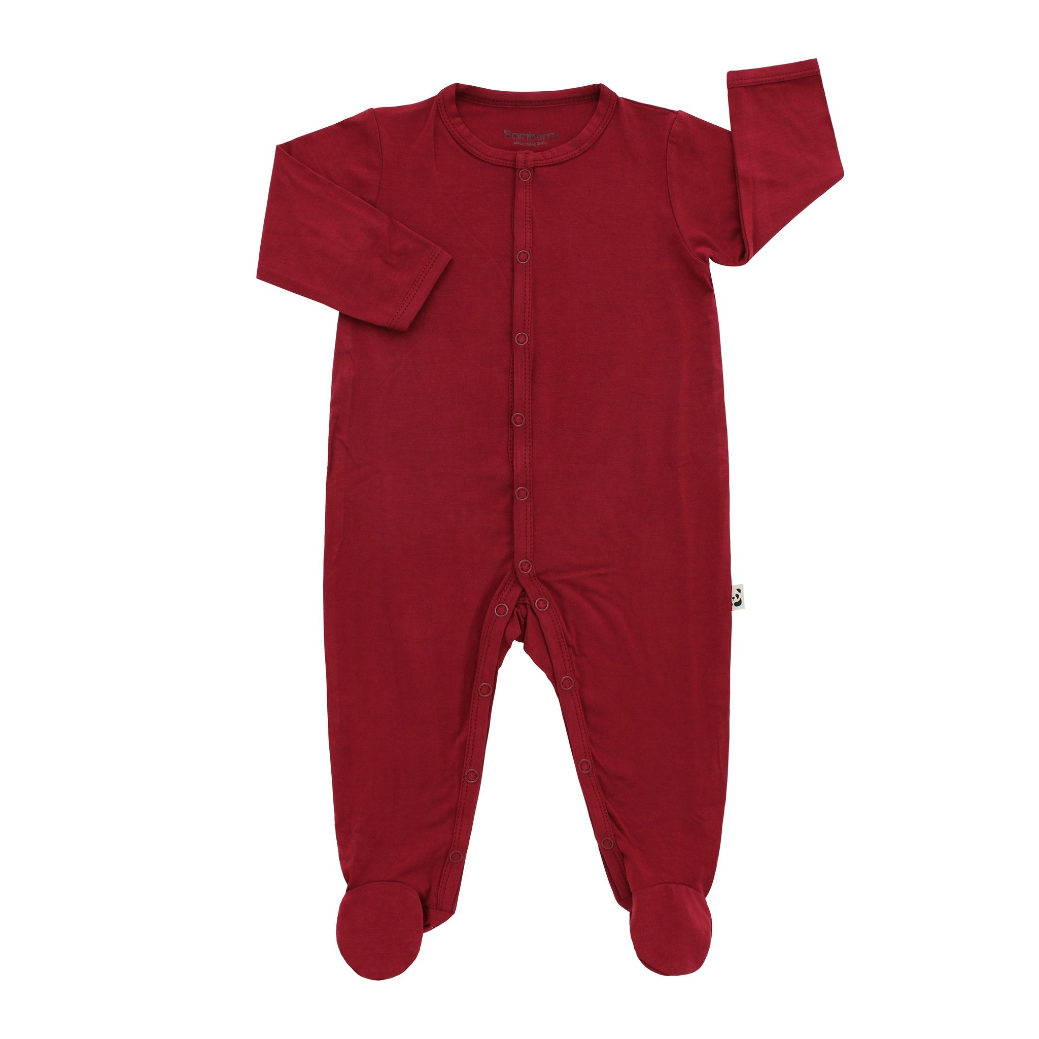 Bamberry Baby Footed Romper Berry Red
