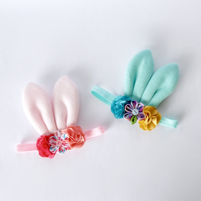 Style Me Little Bunny Ears Fleece Hairpiece – Spring 2019 | Soft Elastic | 3-6 Months