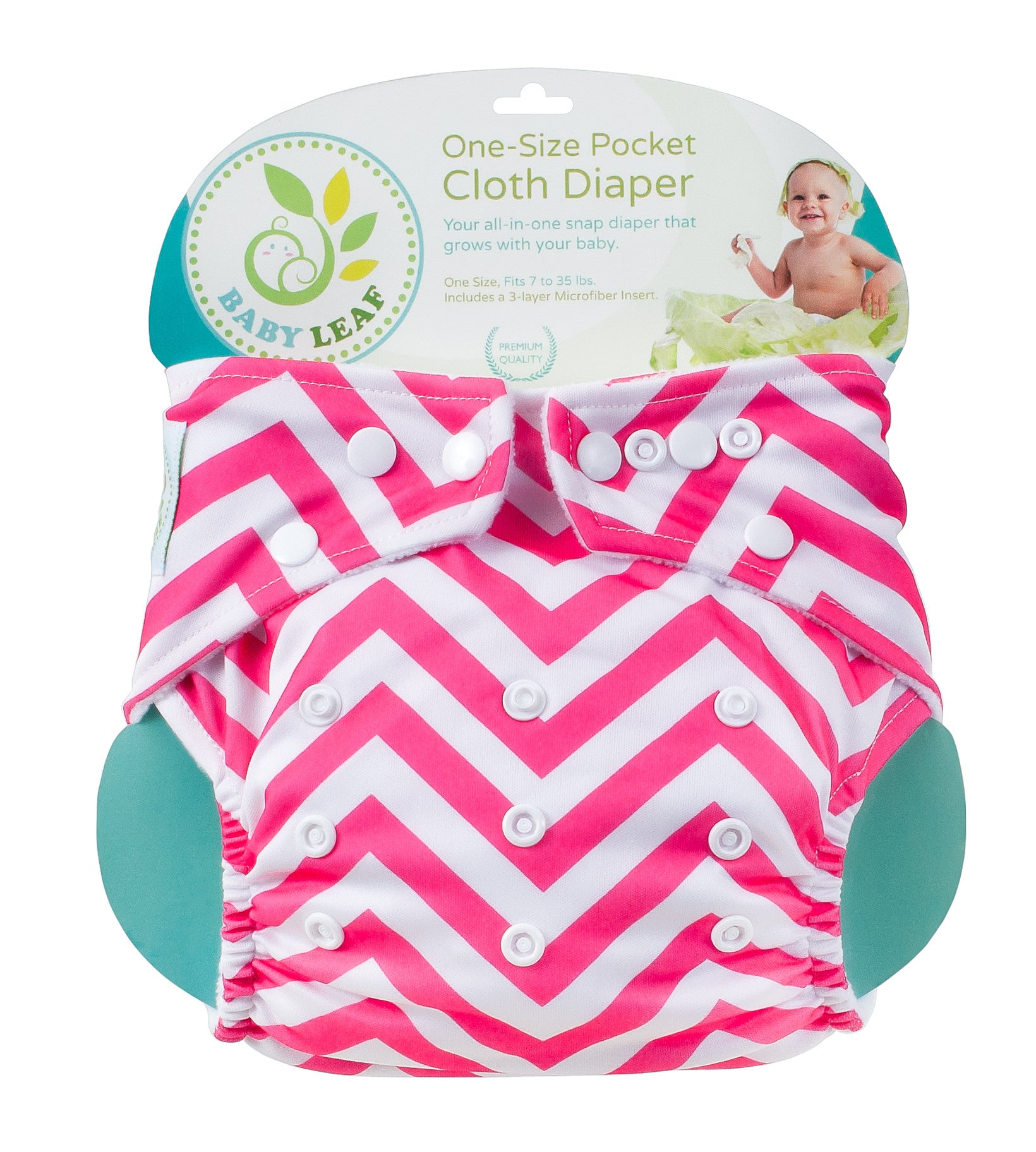 Baby Leaf Chevpink One-Size Cloth Diapers