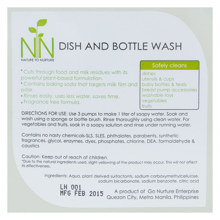 Nature to Nurture Baby Bottle and Dish Wash
