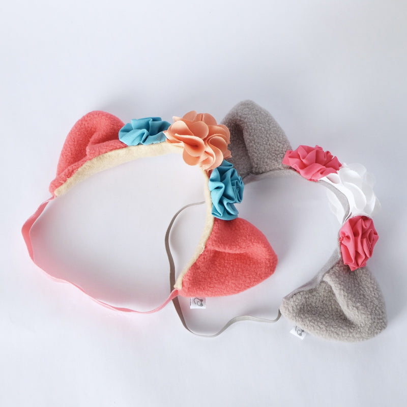 Style Me Little Cat Ears Fleece Hairpiece - Spring | Soft Elastic | 6-12 Months